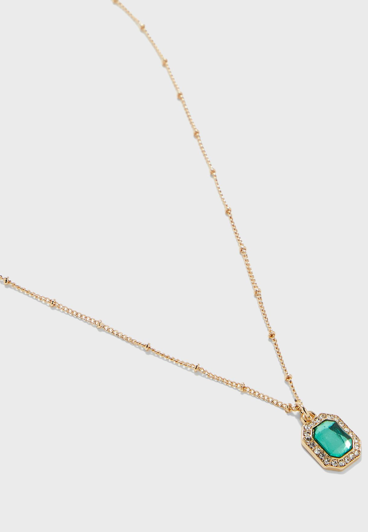 Double Layer Fine Necklace With Stone Pendent