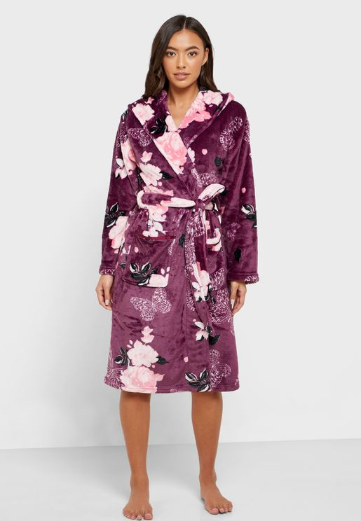 Floral Print Belted Hooded Robe