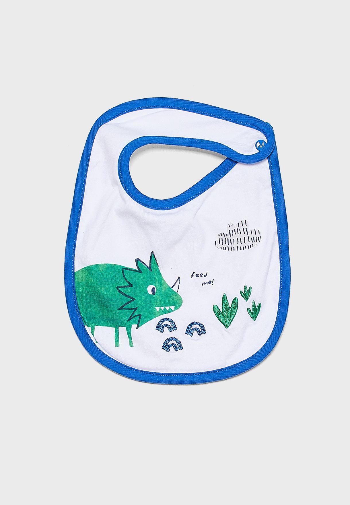 Infant Dinosaur Print Romper+Bib Set