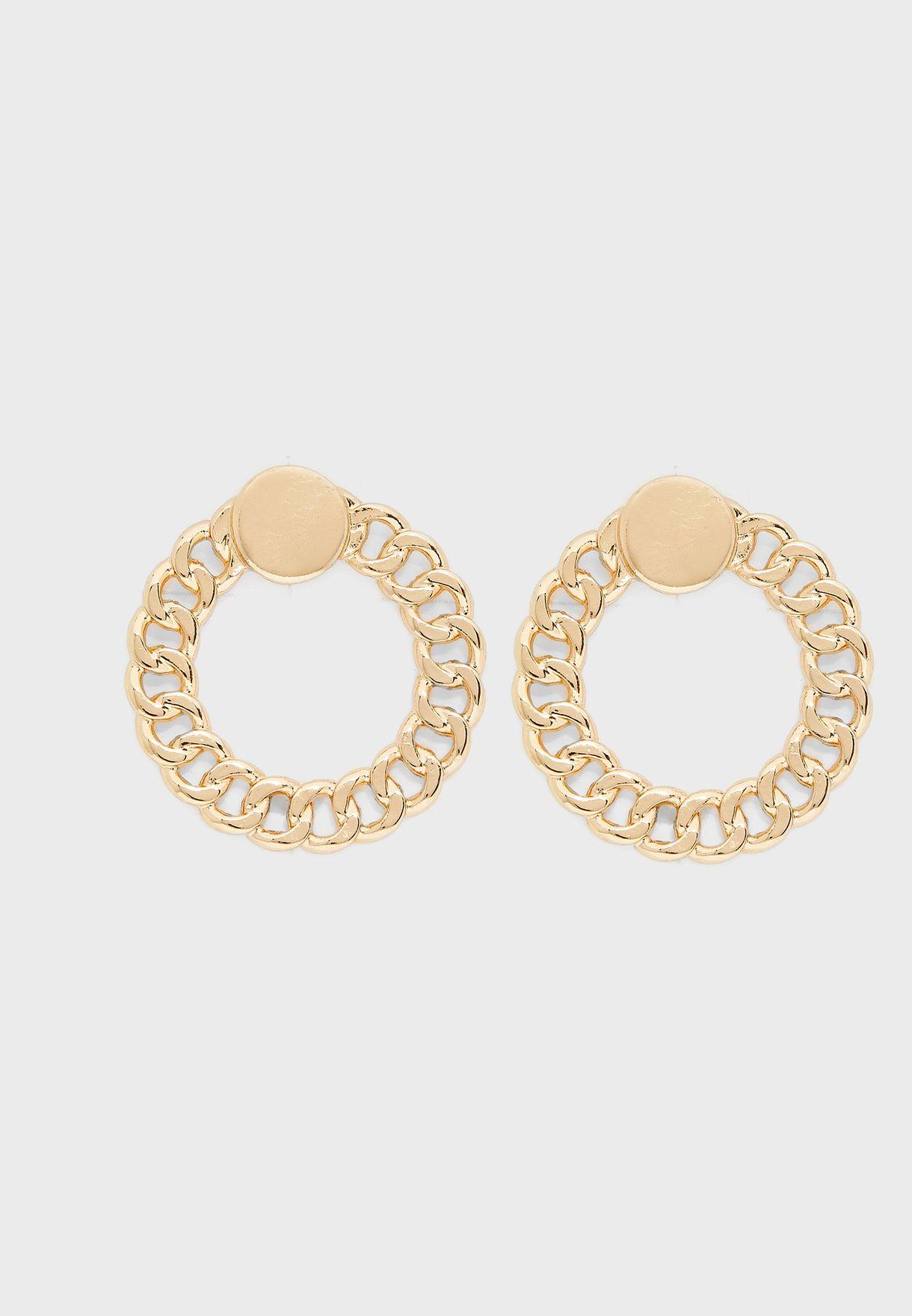 Chain Circle Stud Earrings