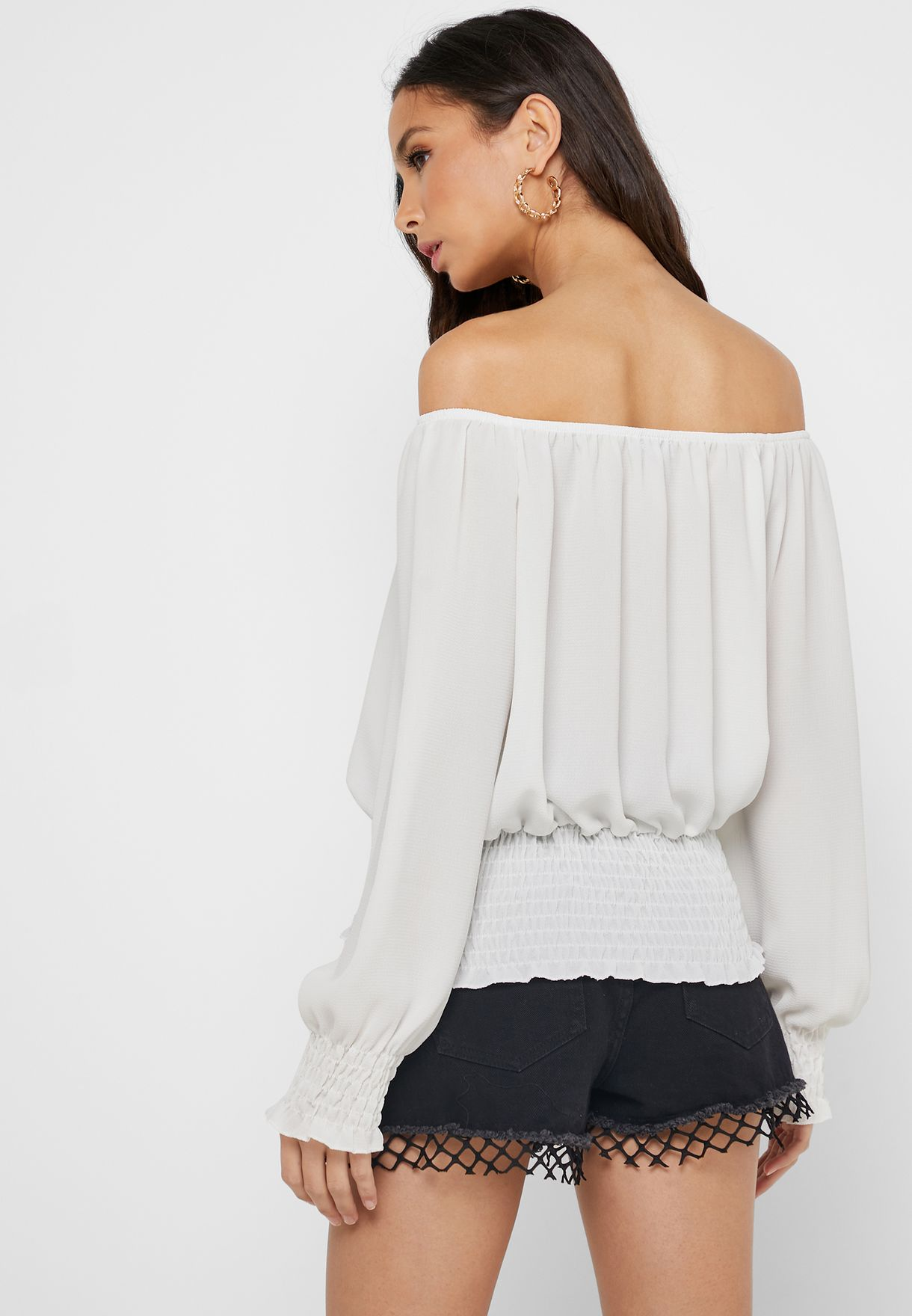 Shirred Waist Pleated Top