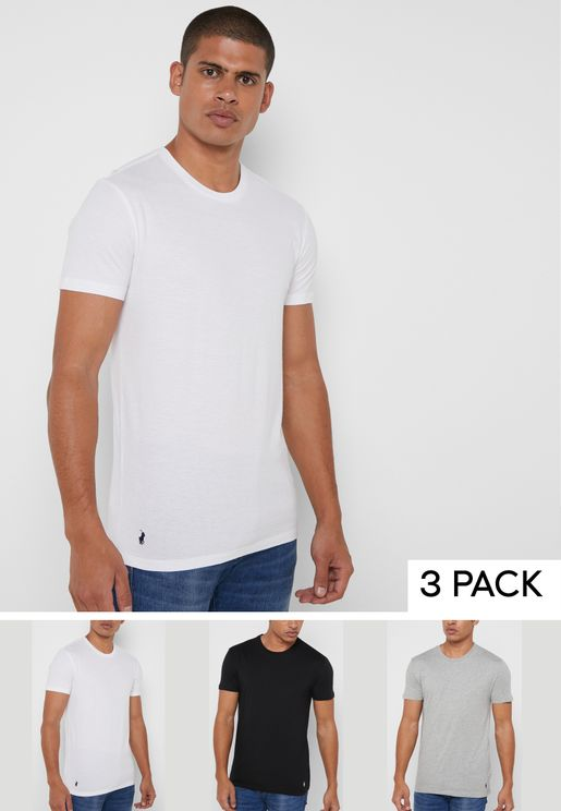 3 Pack Assorted Crew Neck T-Shirts