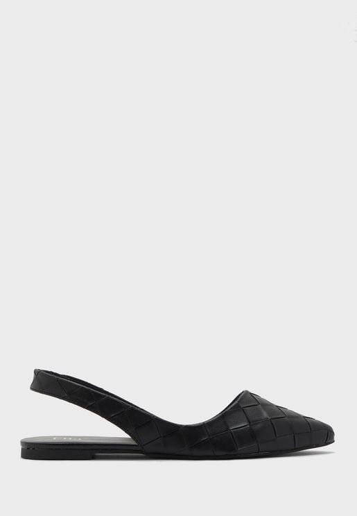 Weaved Slingback Pointed Flat Shoe