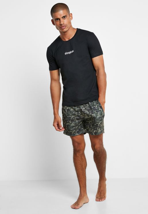 Sleepless Camo Short Pyjama Set