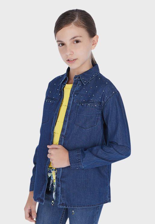Youth Button Down Denim Shirt