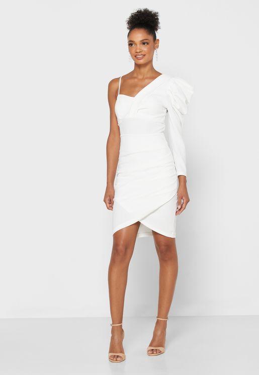 One Shoulder Detail Mini Dress