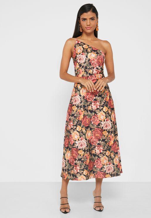 فستان زهور بكتف واحد
