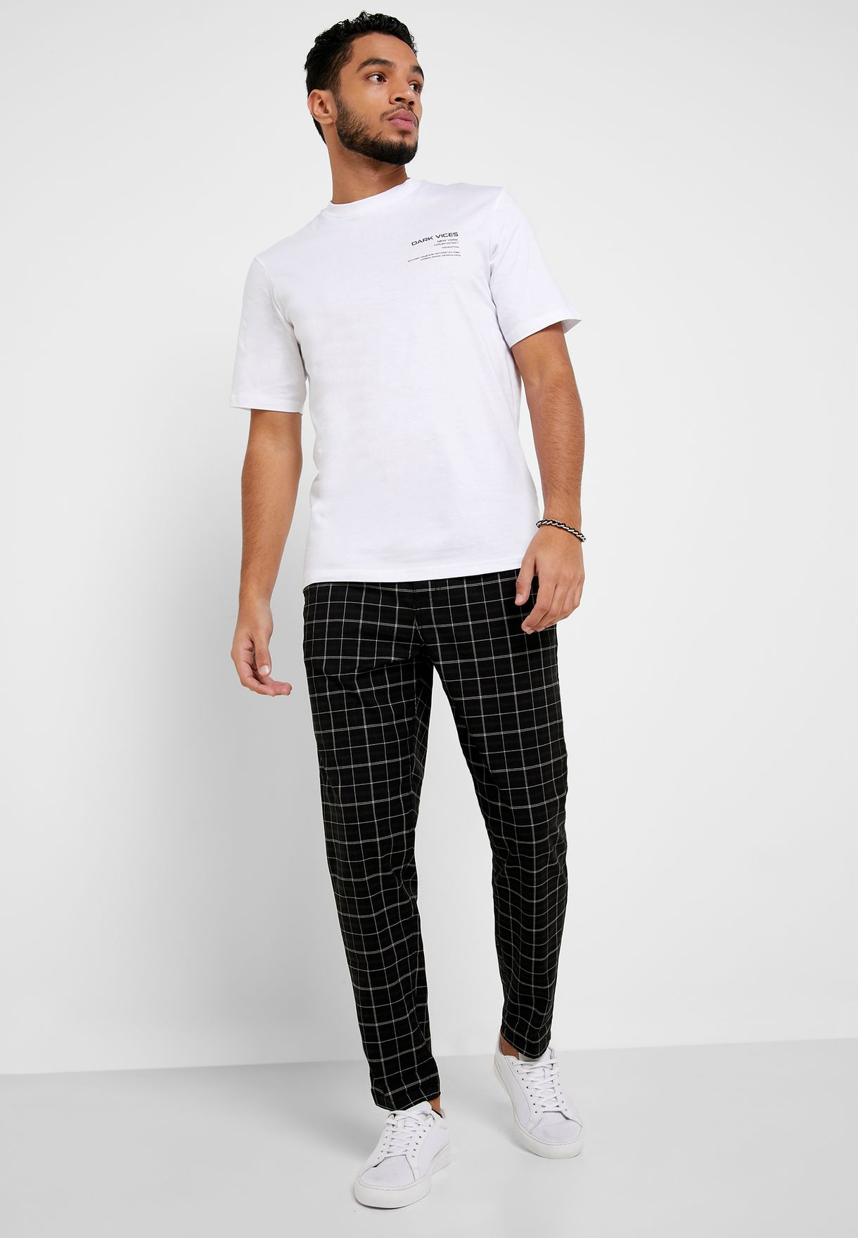 Roll Hem Checked Trousers