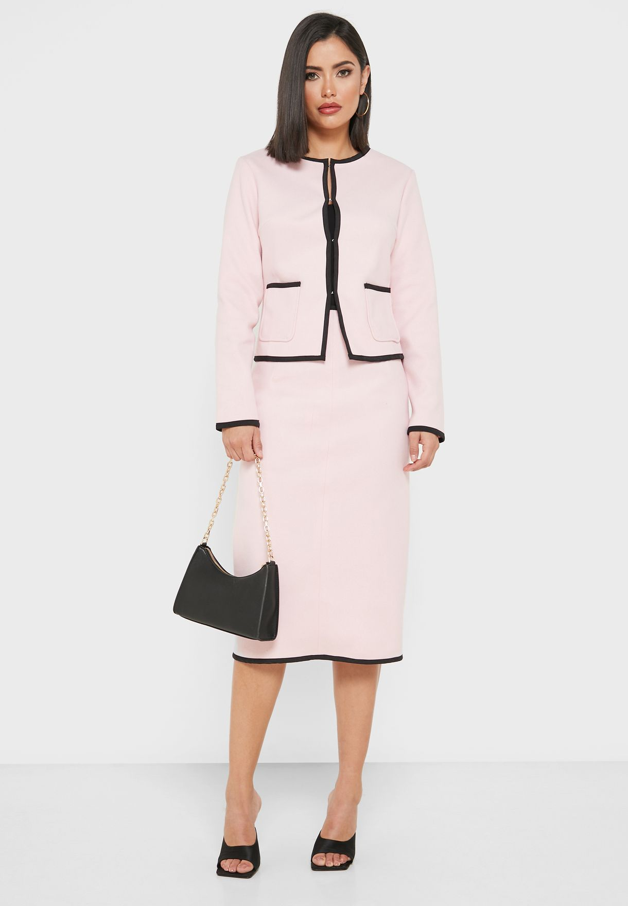 Tailored Contrast Trim Blazer Midi Skirt Set