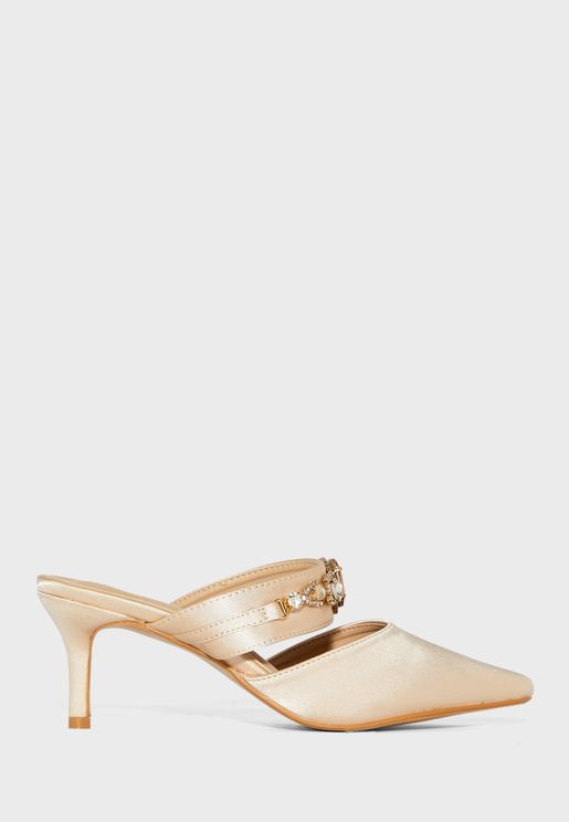 Oversized Gem Strap Pointed Stiletto Mule