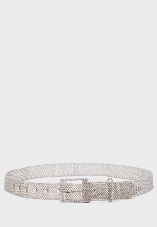 Diamante Detail Mesh Belt