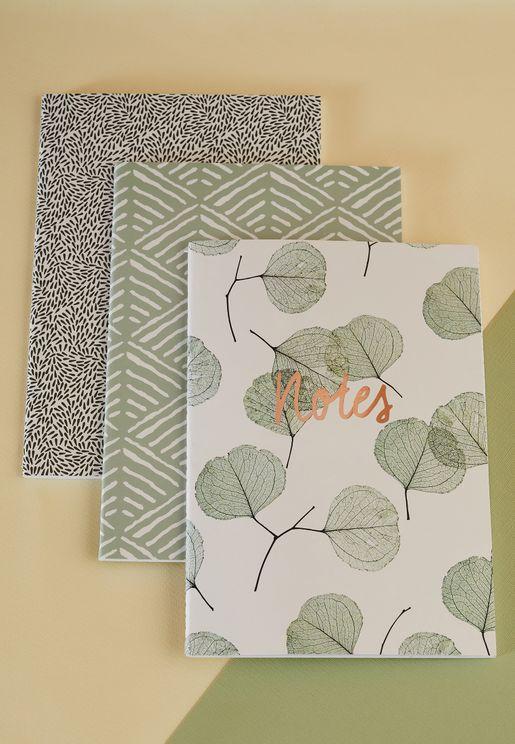 Set Of 3 A5 Stitched Leaf Notebooks