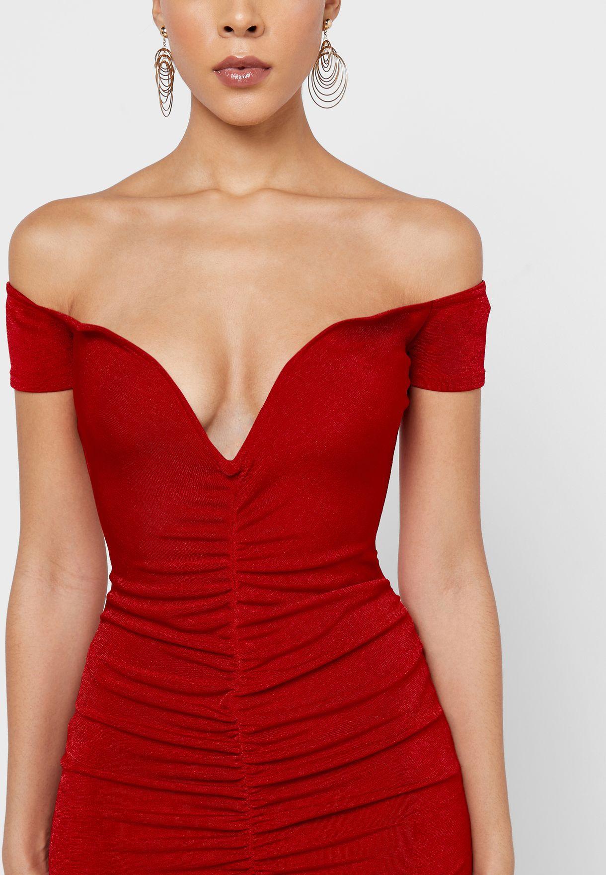 Bardot Plunge Ruched Detail Dress