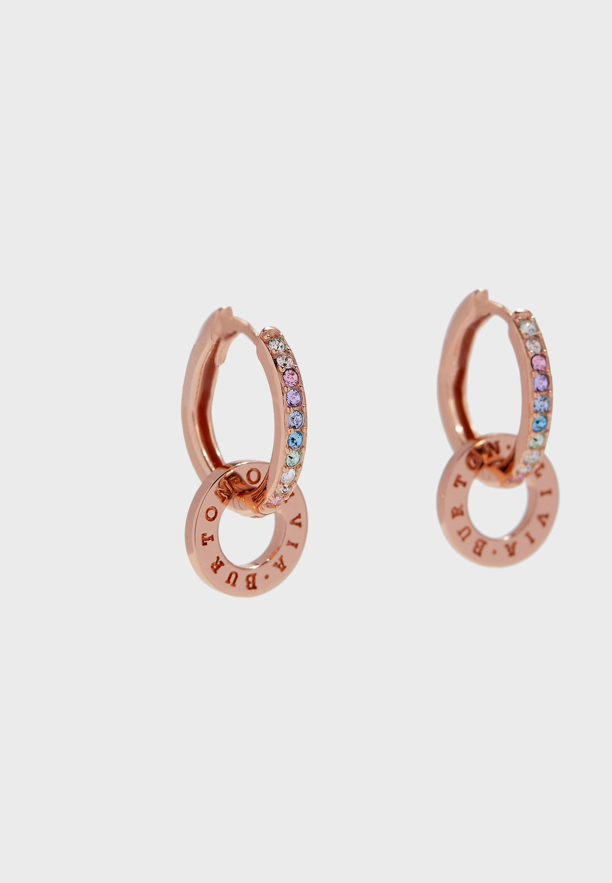 OBJRBE03 Rainbow Interlink Huggie Hoop Earrings