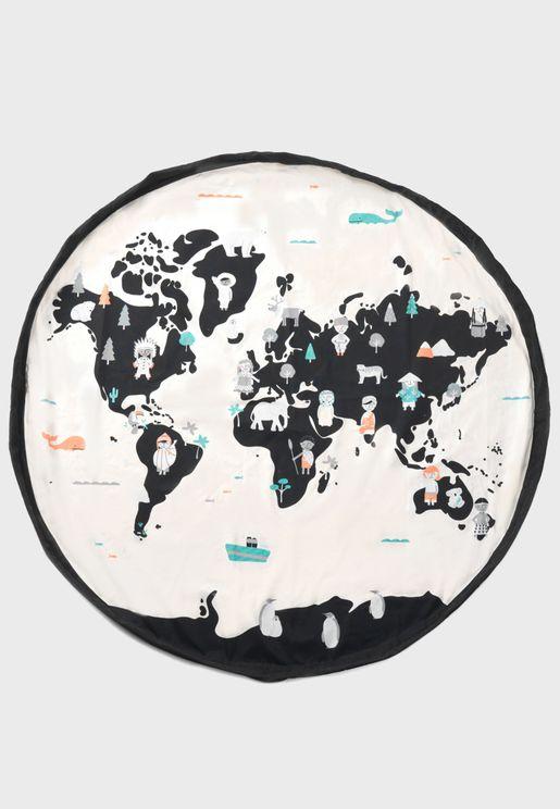 شنطة تخزين وحصيرة لعب خريطة العالم