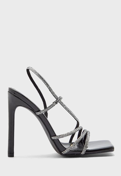 Diamante Strap Square Toe Stiletto Sandal