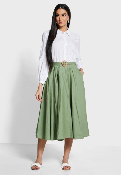 Earthen  Belted Midi Skirt