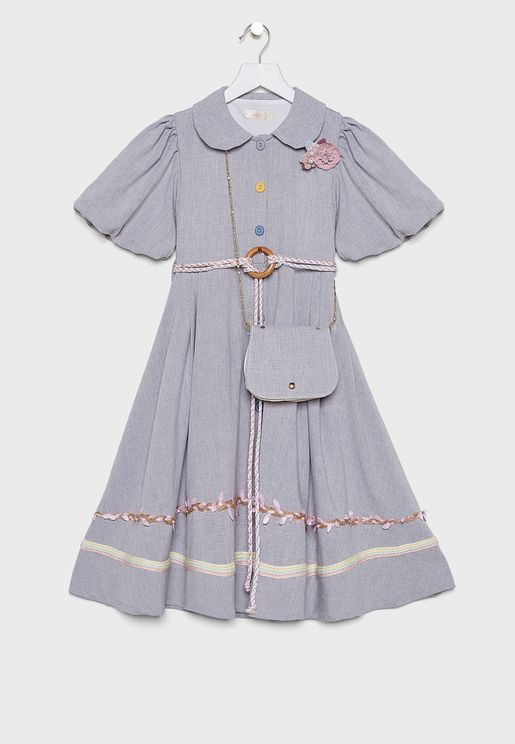 Teen Printed Dress With Crossbody