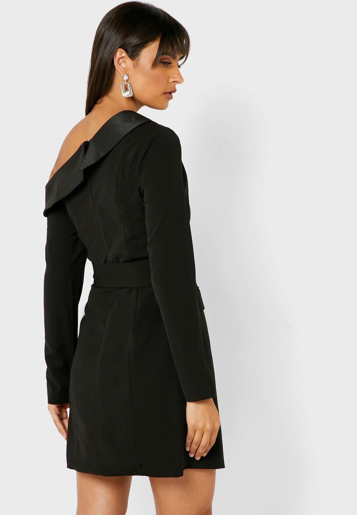 Contrast Detail One Shoulder Belted Dress