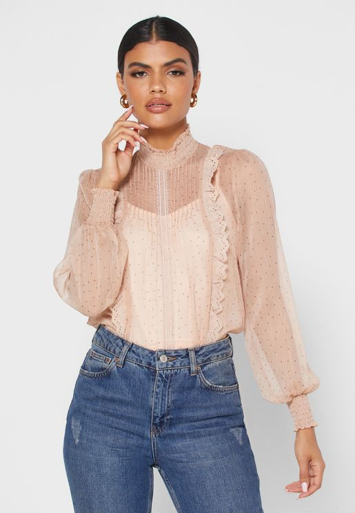 Shirred Neck Ruffle Detail Top
