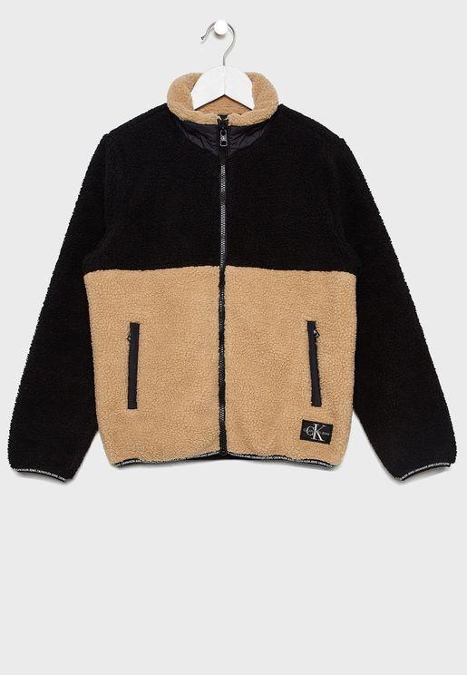 Kids Teddy Color Block Jacket