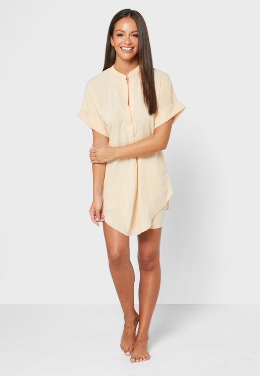 Shirt Dress & Shorts Pyjama Set