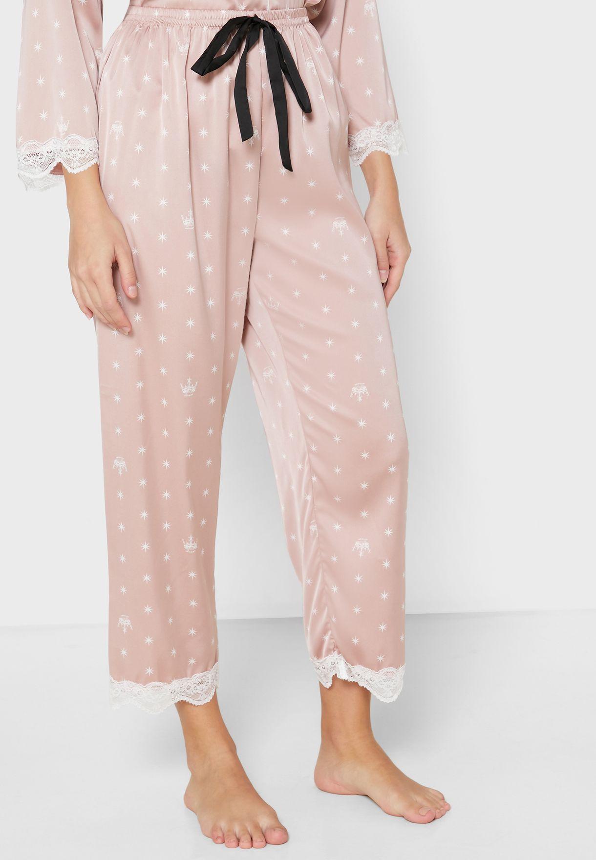 Lace Hem Shirt Pyjama Set