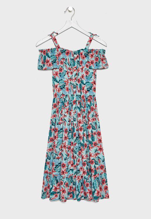 فستان باكتاف مكشوفة وطبعة ورود