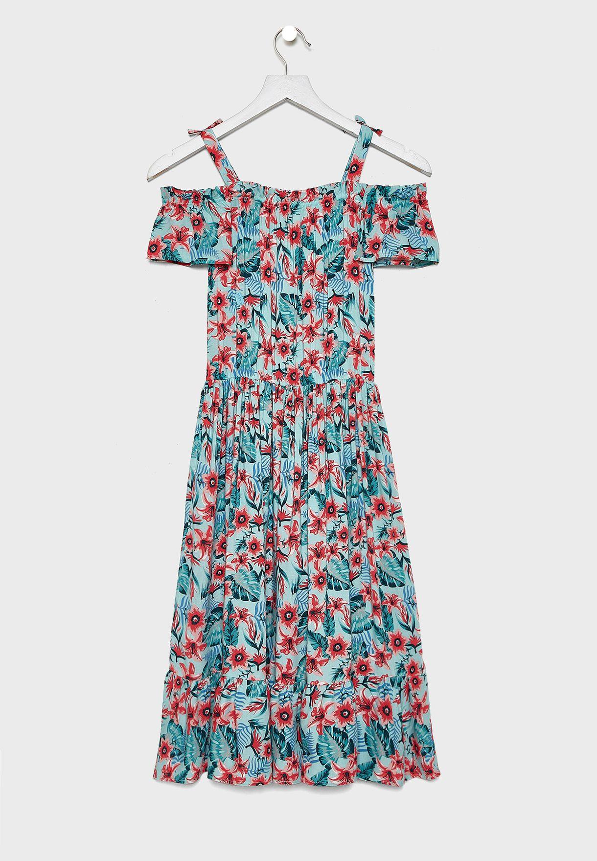 Kids Floral Cold Shoulder Dress