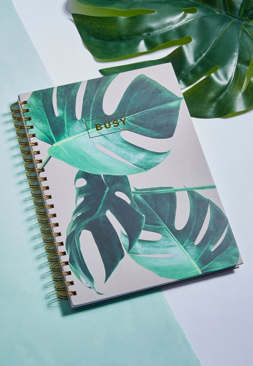 A4 Tropical Leaf Busy Notebook