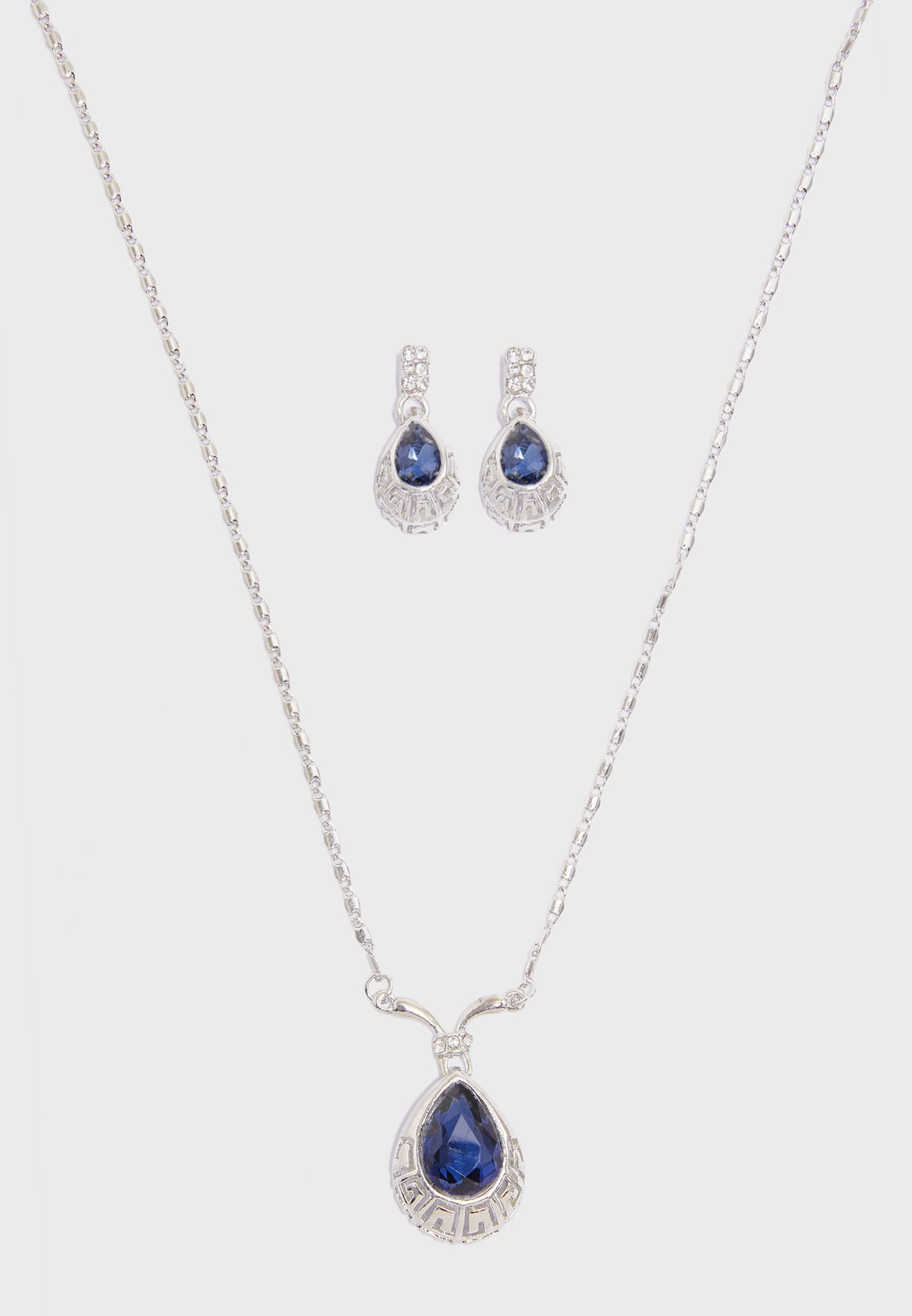 Diamante Detail Necklace & Earrings Set