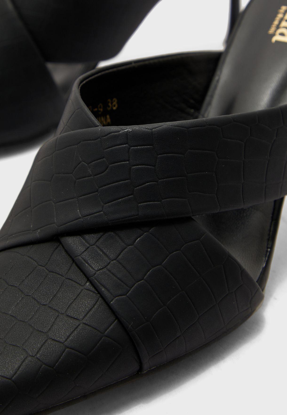 Croc Effect Cutout Pointed Pump