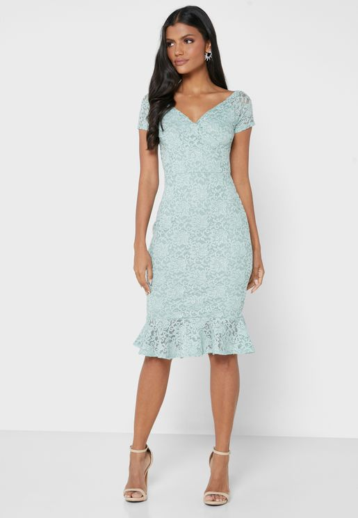 Lace Detail Bardot Frill Midi Dress