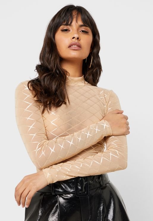 High Neck Mesh Top