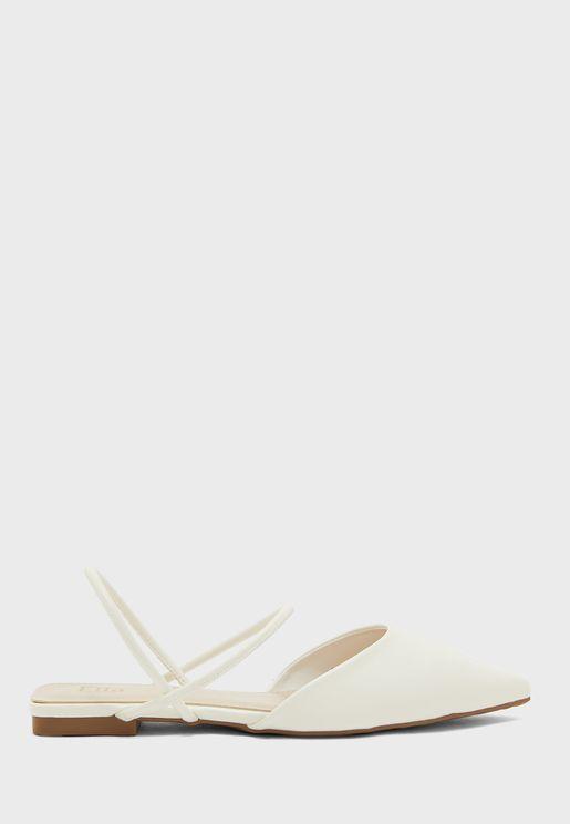 Pointed Skinny Strap Open Back Ballerina