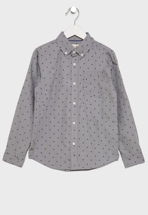 Kids Button Down Printed Shirt