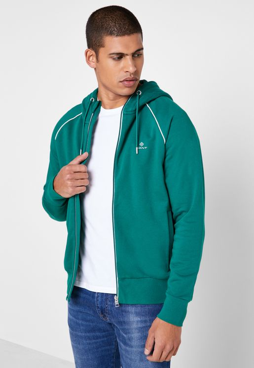 Piping Zip Through Hoodie
