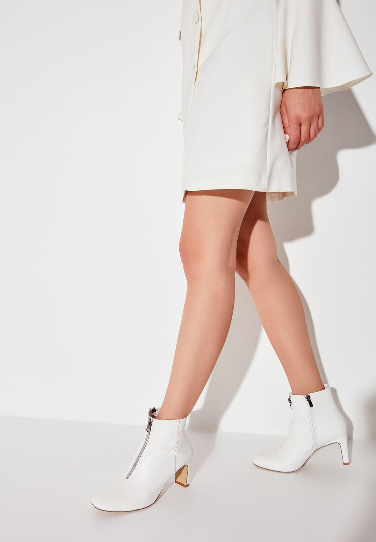 Zip Through Block Heel Ankle Boot