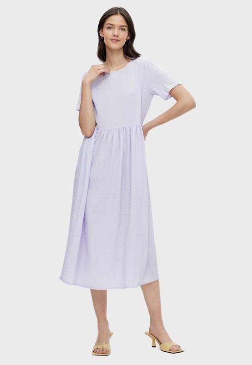Pleat Detail Midi Dress
