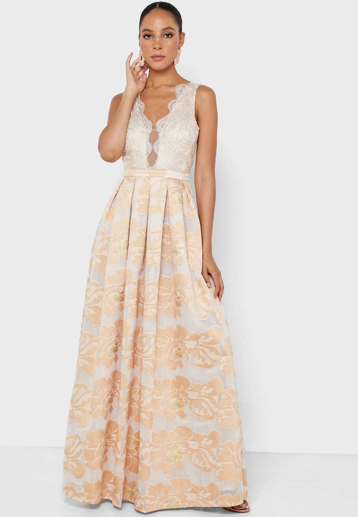 Scallop Detail Pleated Dress
