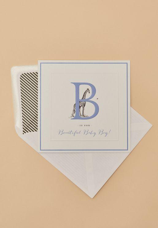بطاقة تهنئة مزينة بطباعة حرف B