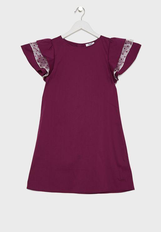 فستان باكمام كشكش للاطفال