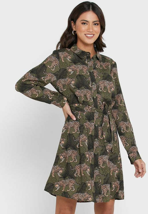 Printed Front Knot Dress