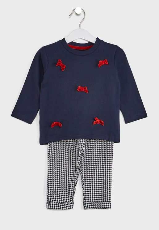Bow Pure T-Shirt With Houndstooth Print Trousers