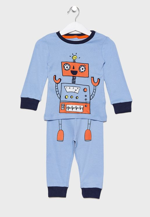 Infant Graphic T-Shirt + Printed Pyjama Set