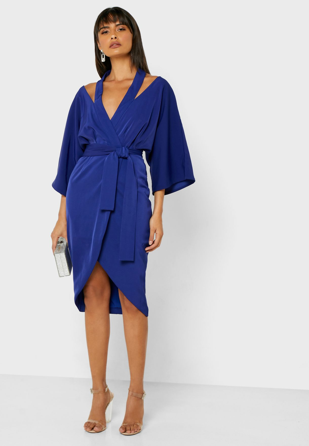 Cut Out Halter Neck Wrap Dress