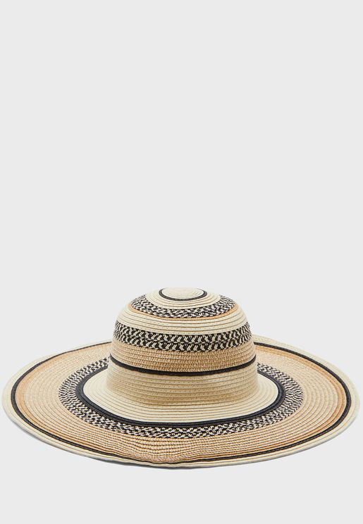 Patterned Multi Striped Wide Brim Straw Hat
