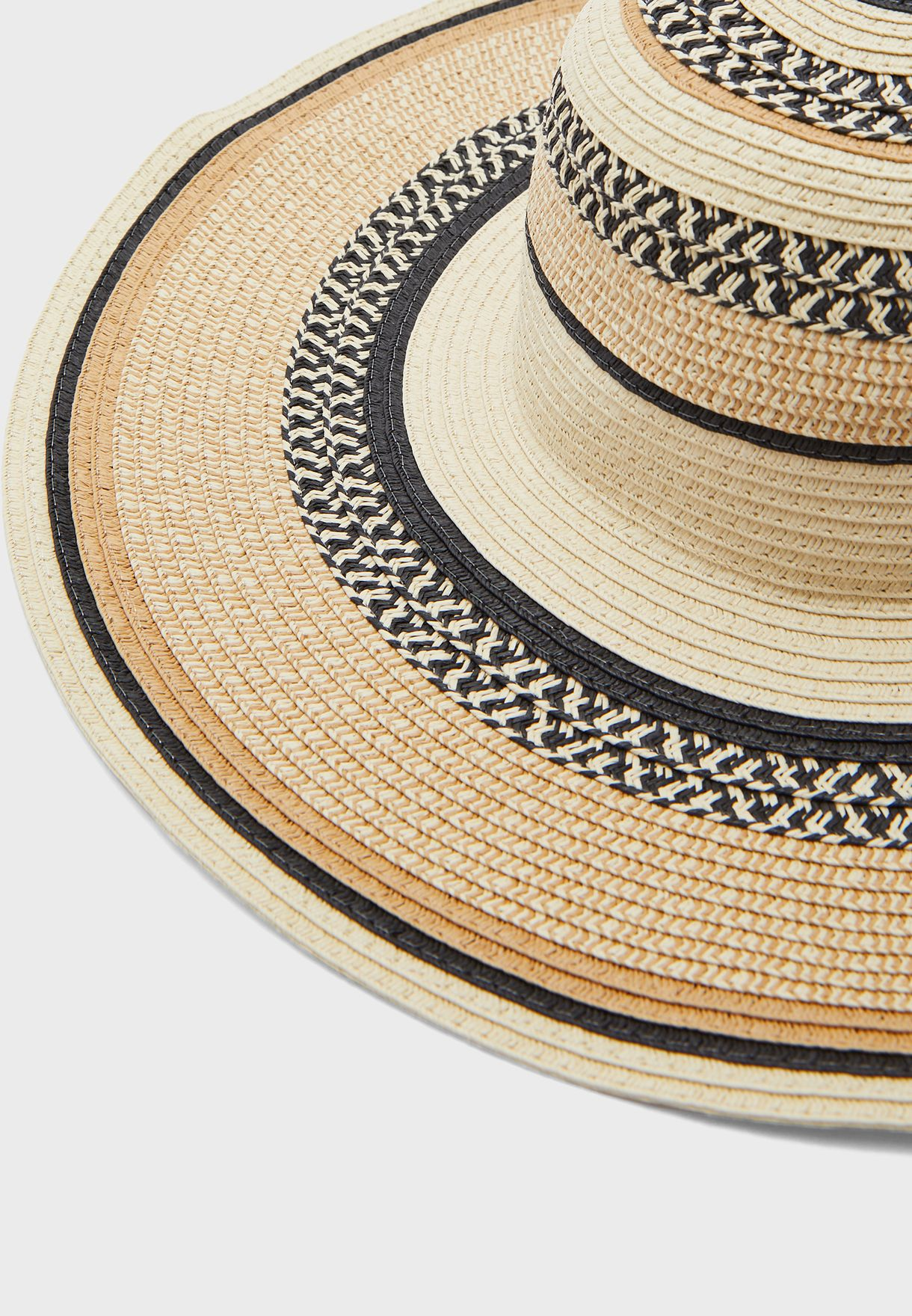 Patterned Multi Striped Wide Brim Straw Hat