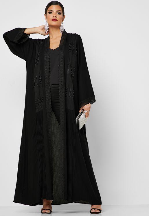 Pearl Embellished Lace Front Abaya