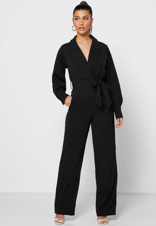 Balloon Sleeve Belted Jumpsuit